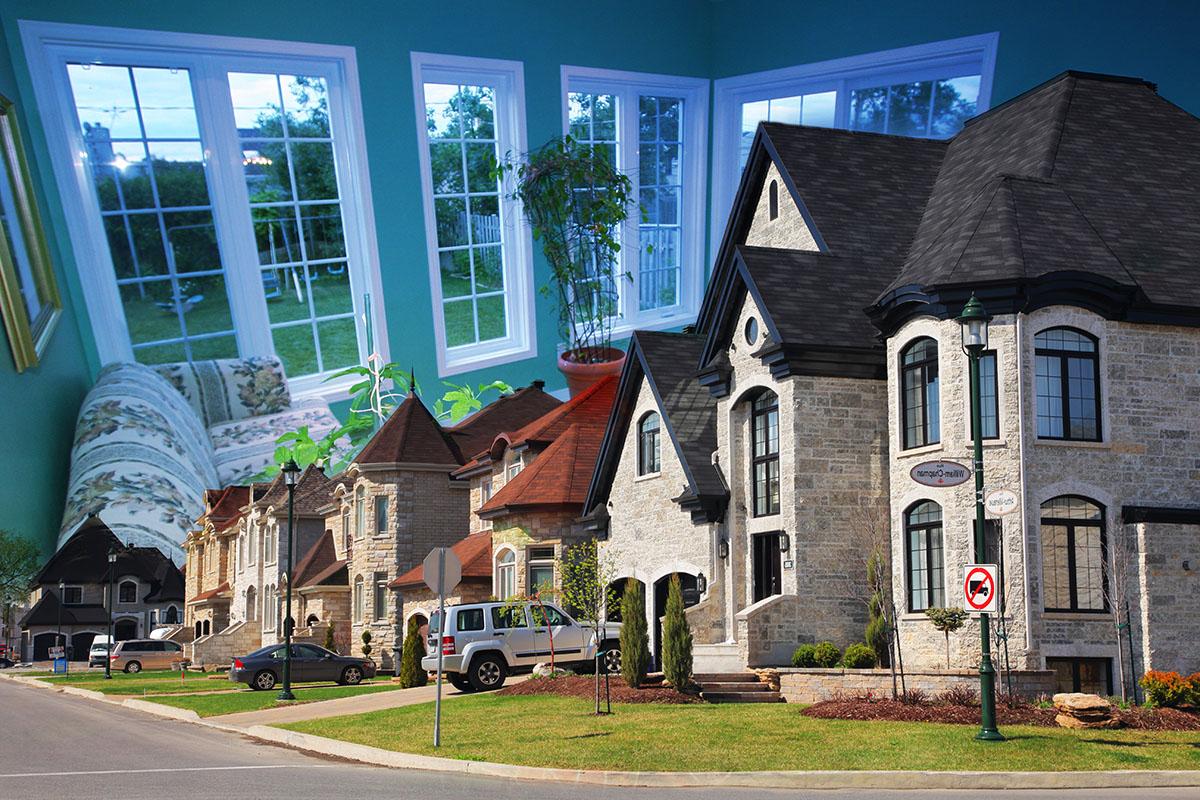 Cozy Neighborhood Photo Montage - RF Stock Image
