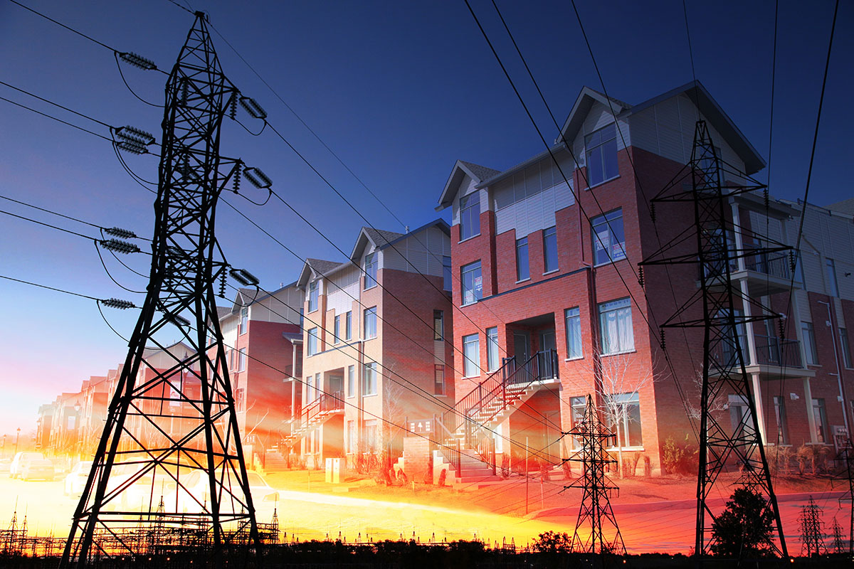 Domestic Energy Lines Photo Montage - RF Stock Image