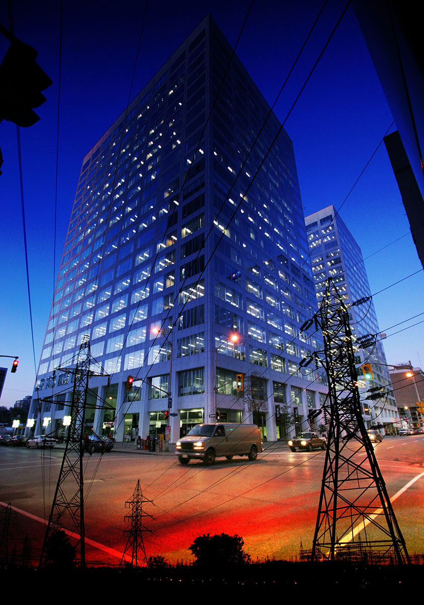 Downtown Electricity Supply Photo Montage - RF Stock Image