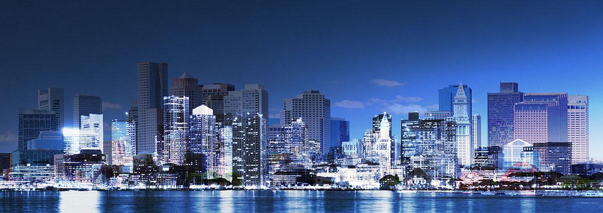 Panoramic Boston City Photo Montage - RF Stock Image