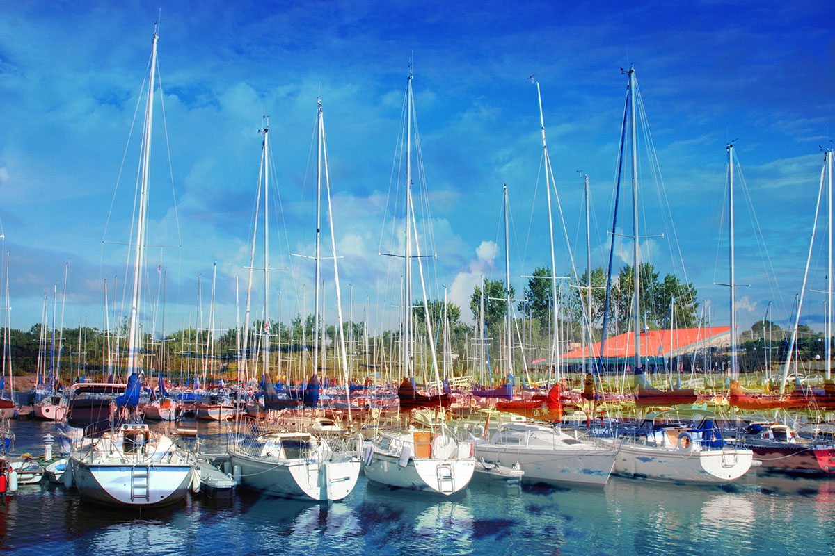 Sail Boats Marina Photo Montage - RF Stock Image