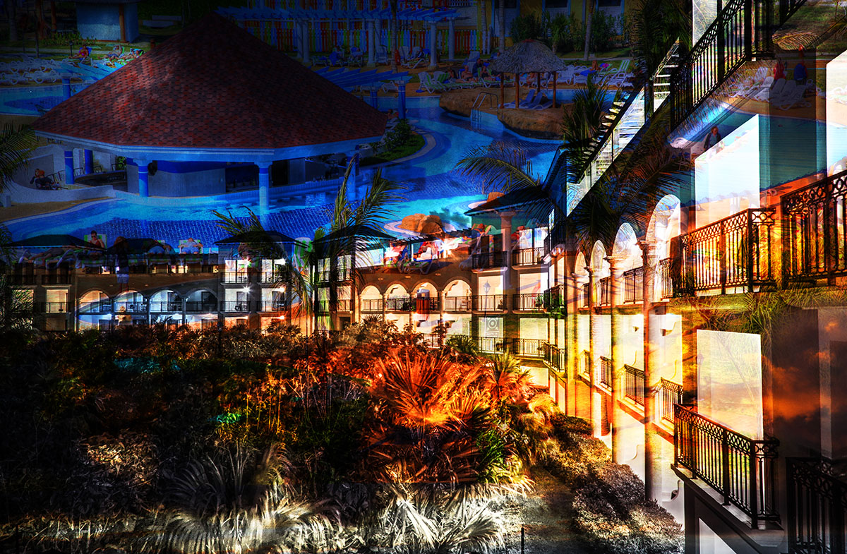 Caribbean Hotel Photo Montage - RF Stock Image