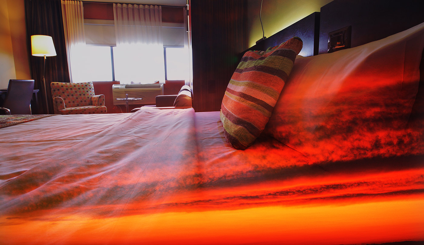 Sunset Bed Cover 1 - RF Stock Image