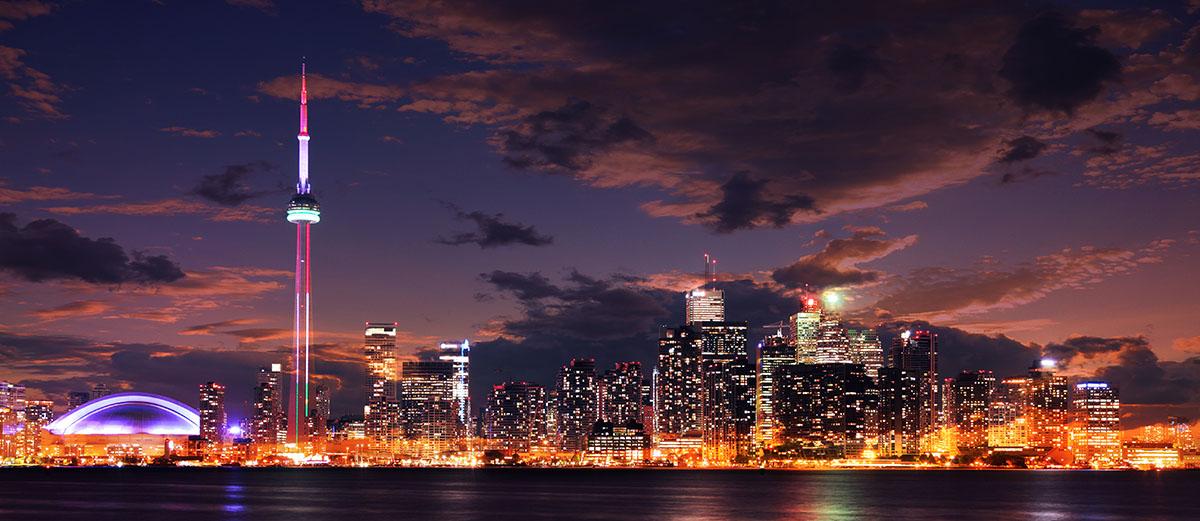 Toronto City Nighttime Skyline - RF Stock Image
