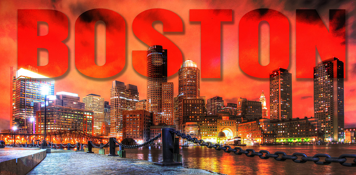 Boston City with Text 1 - RF Stock Image