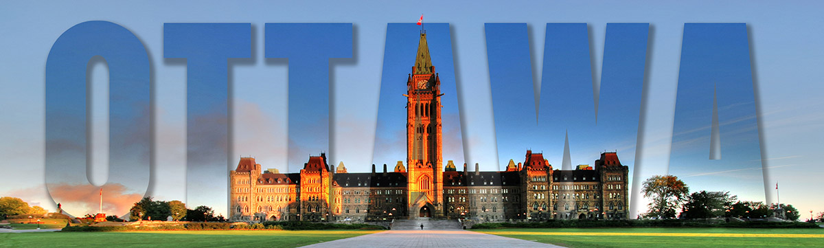 Federal Parliament with Ottawa Text 1 Stock Image