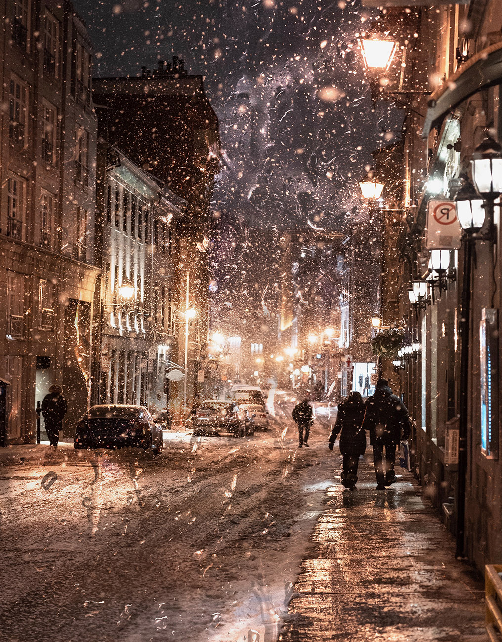 Bad Winter Weather in City Street - RF Stock Image