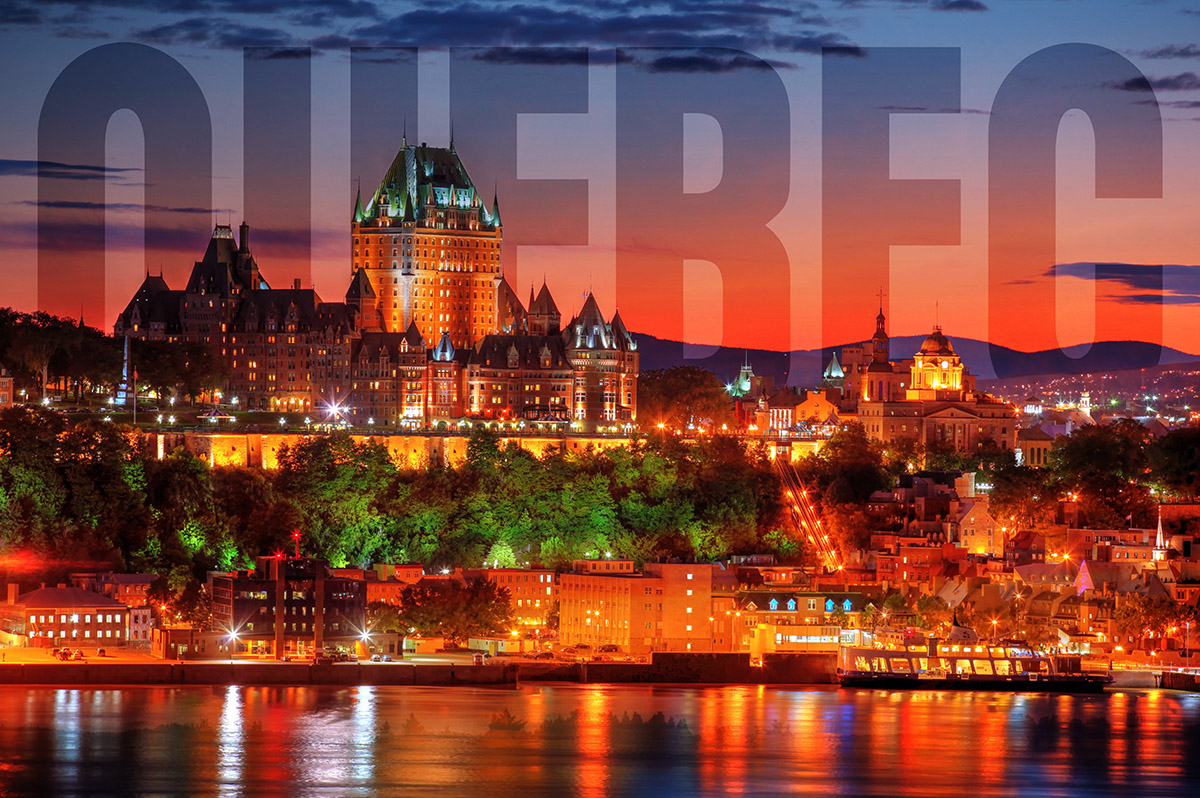 Quebec Frontenac Castle Montage with Text 02 - RF Stock Image