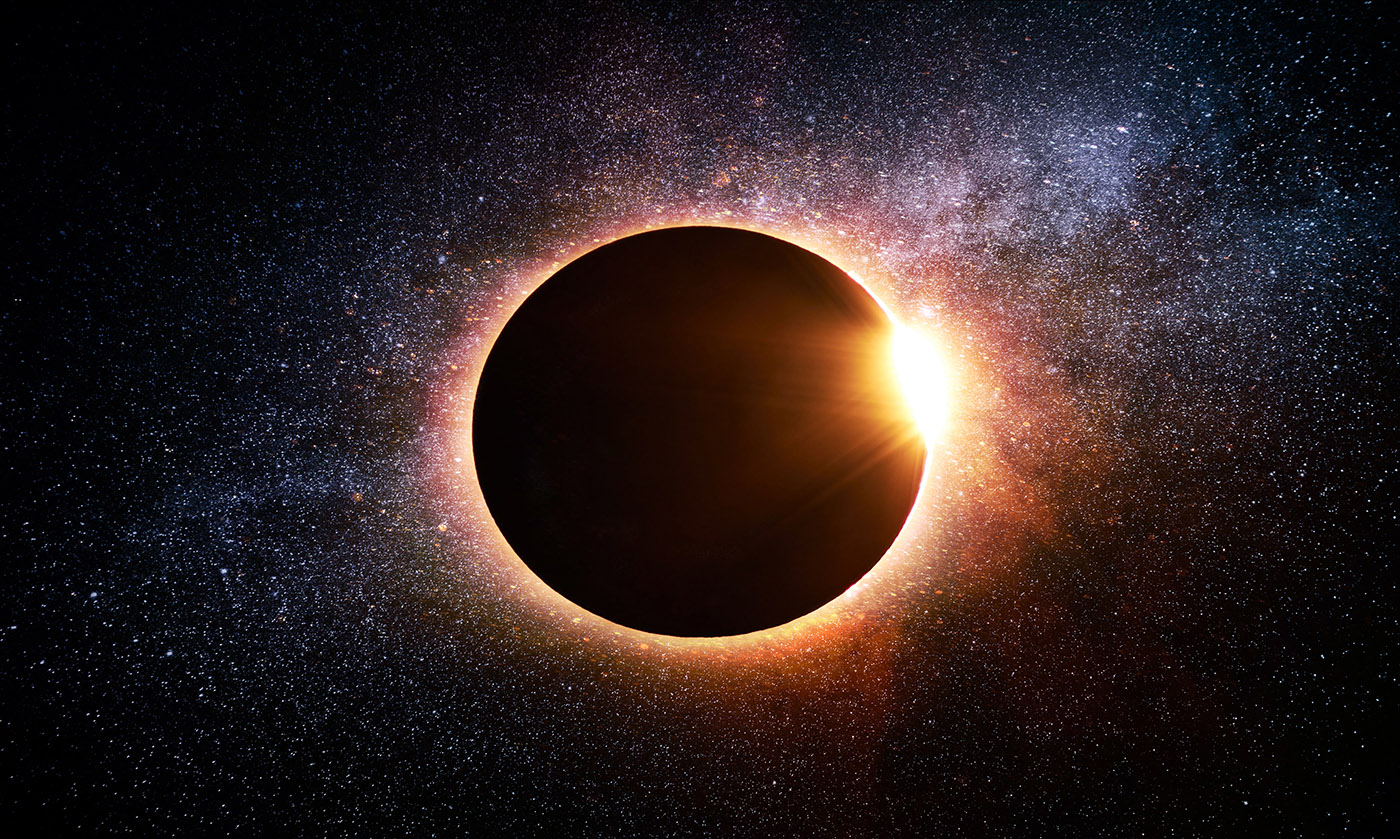 Solar Eclipse in Space - RF Stock Image
