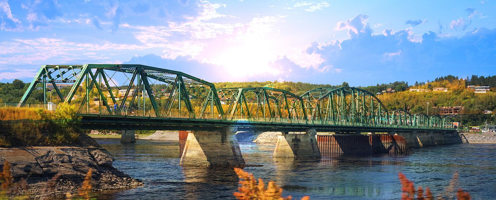 Old Saguenay Bridge and River - RF Stock Image