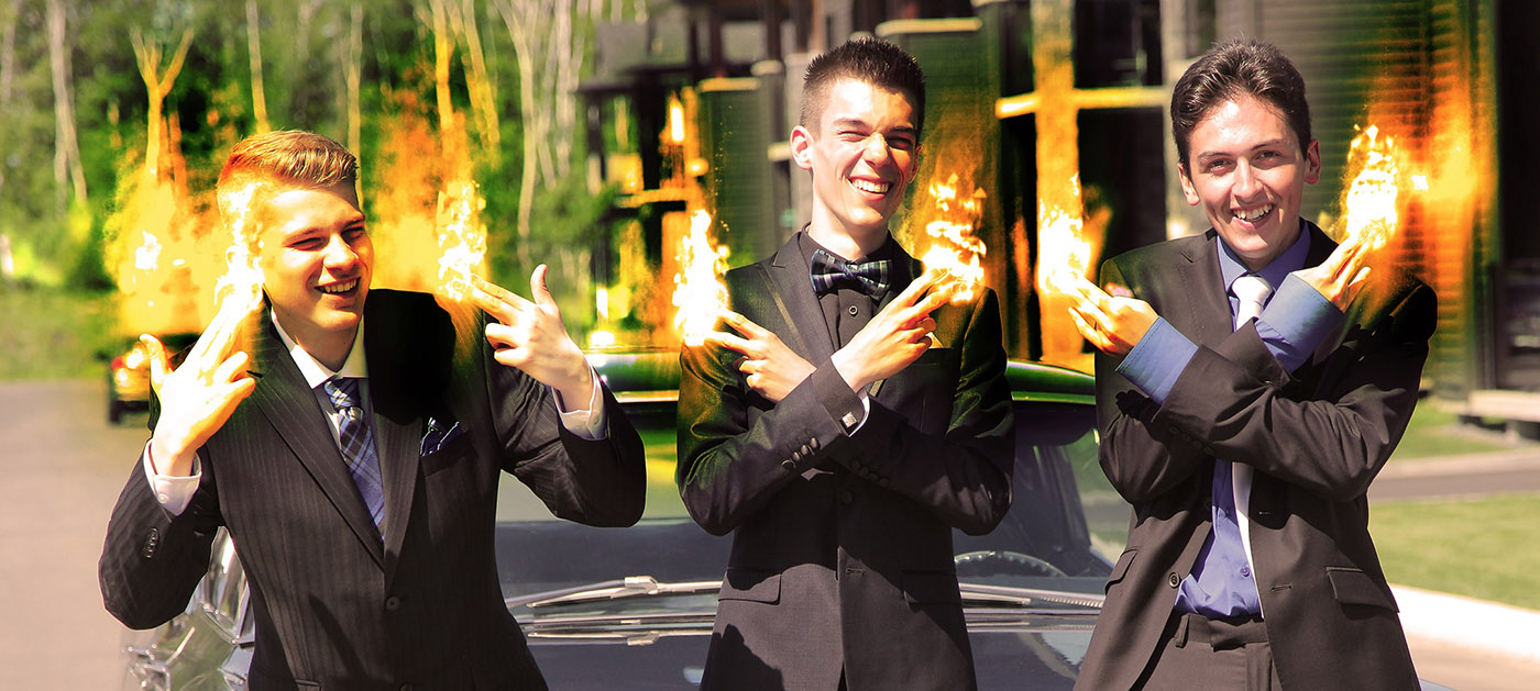 Young Men with Fingers on Fire - RF Stock Image