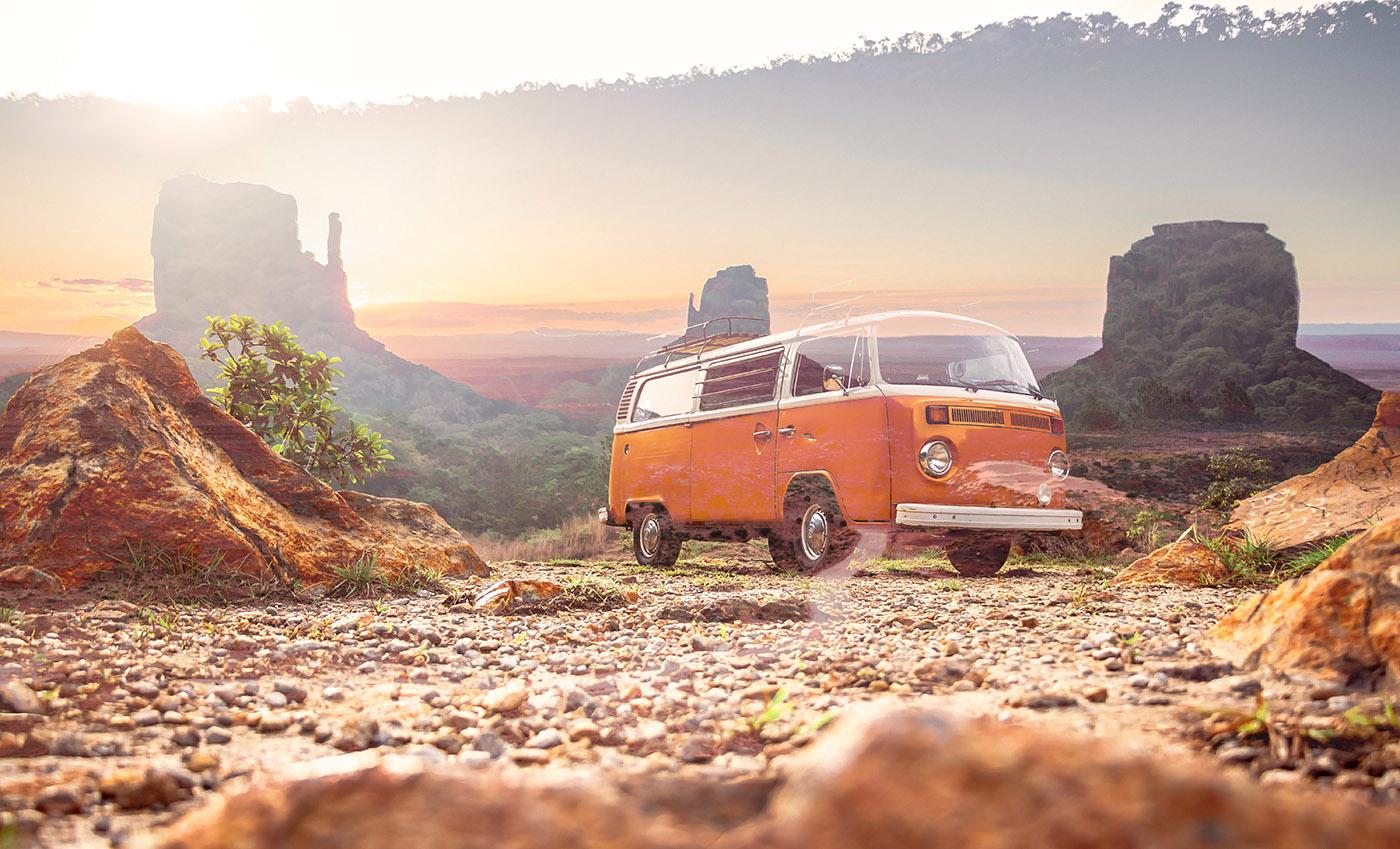 Vintage VW Camper Van Road Trip 01 - RF Stock Image