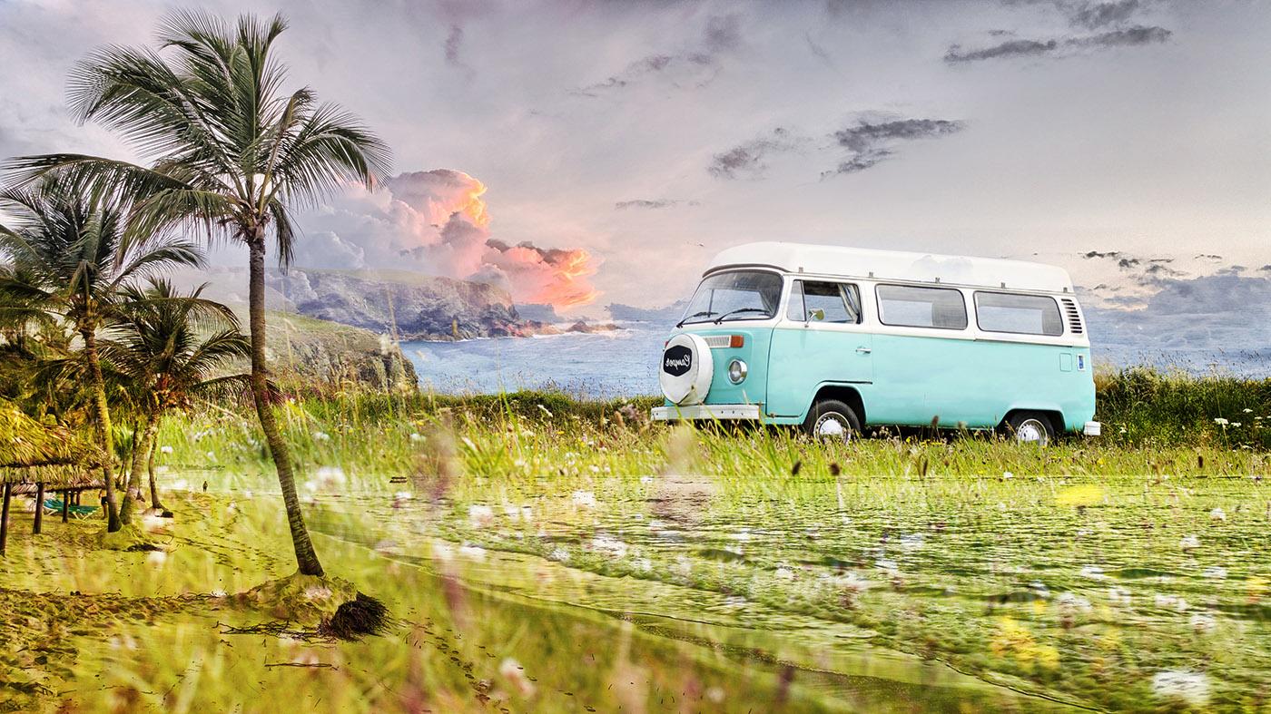 Vintage VW Camper Van Road Trip 02 - RF Stock Image