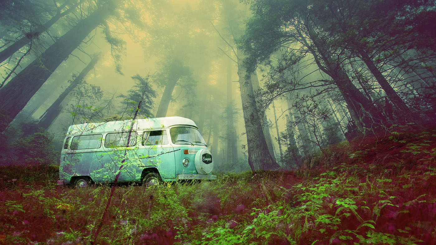 Vintage VW Camper Van Road Trip 03 - RF Stock Image