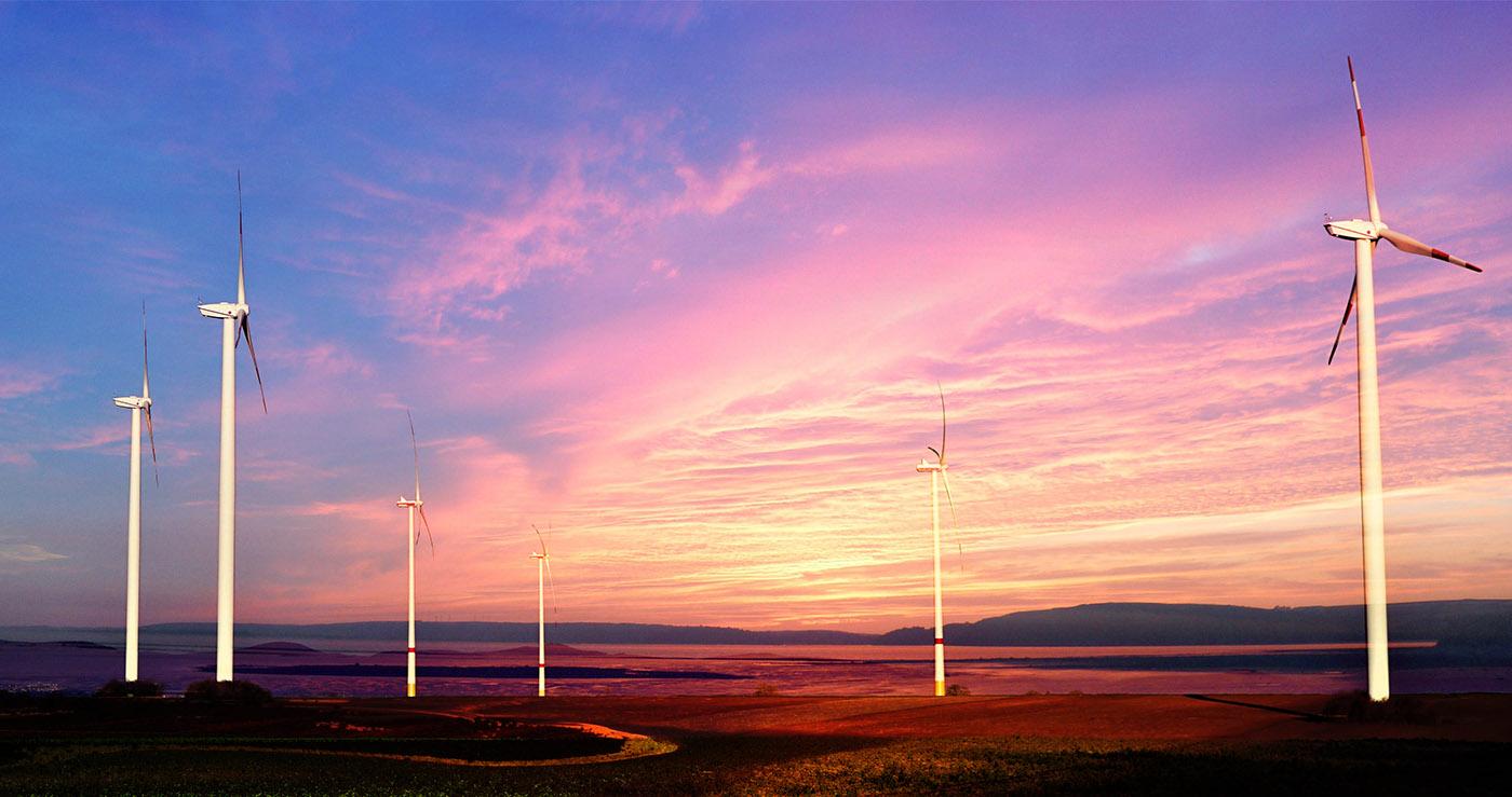 Windmills at Sunset 01 - RF Stock Image
