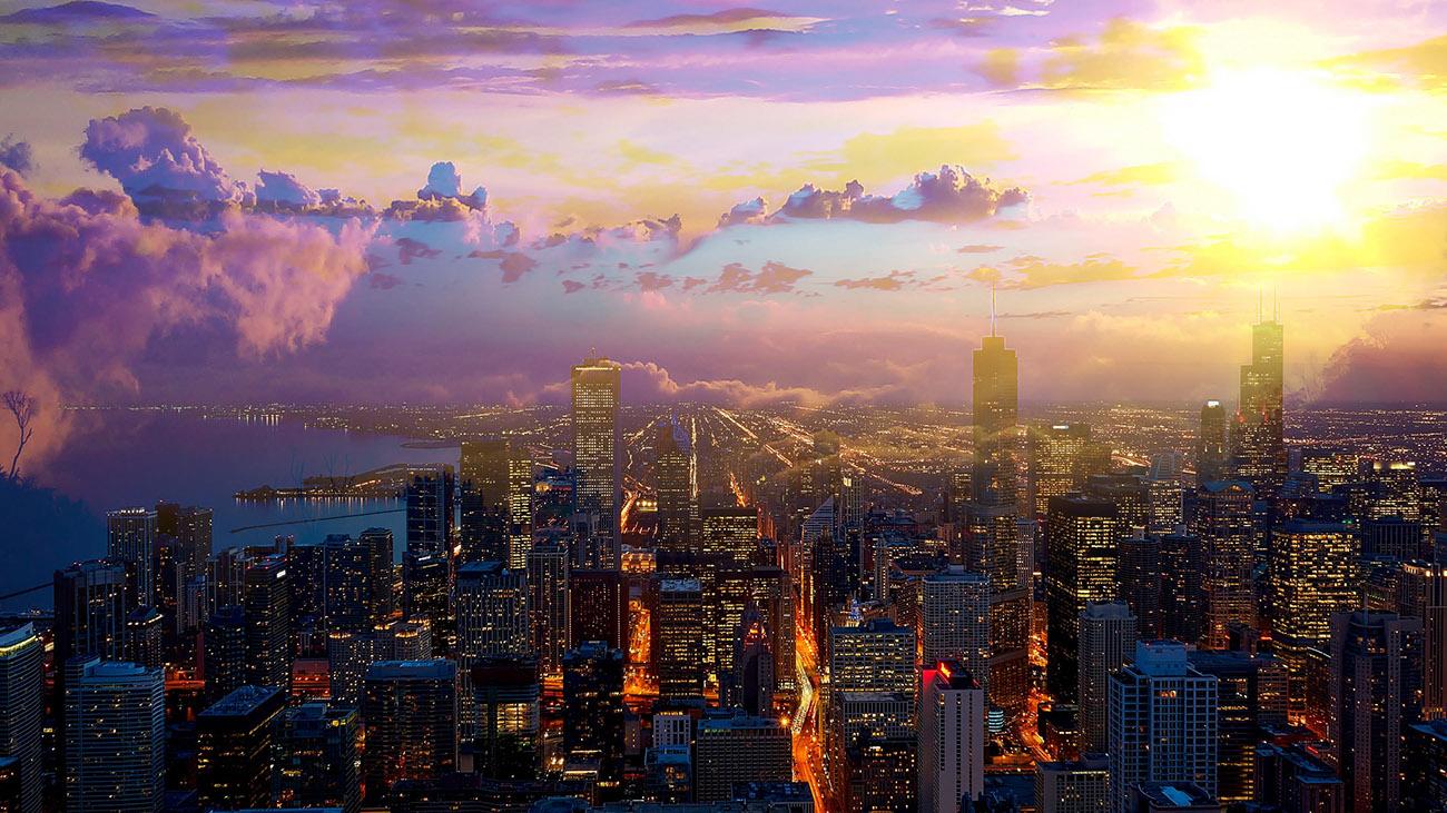 Beautiful Chicago City at Night 01 - RF Stock Image