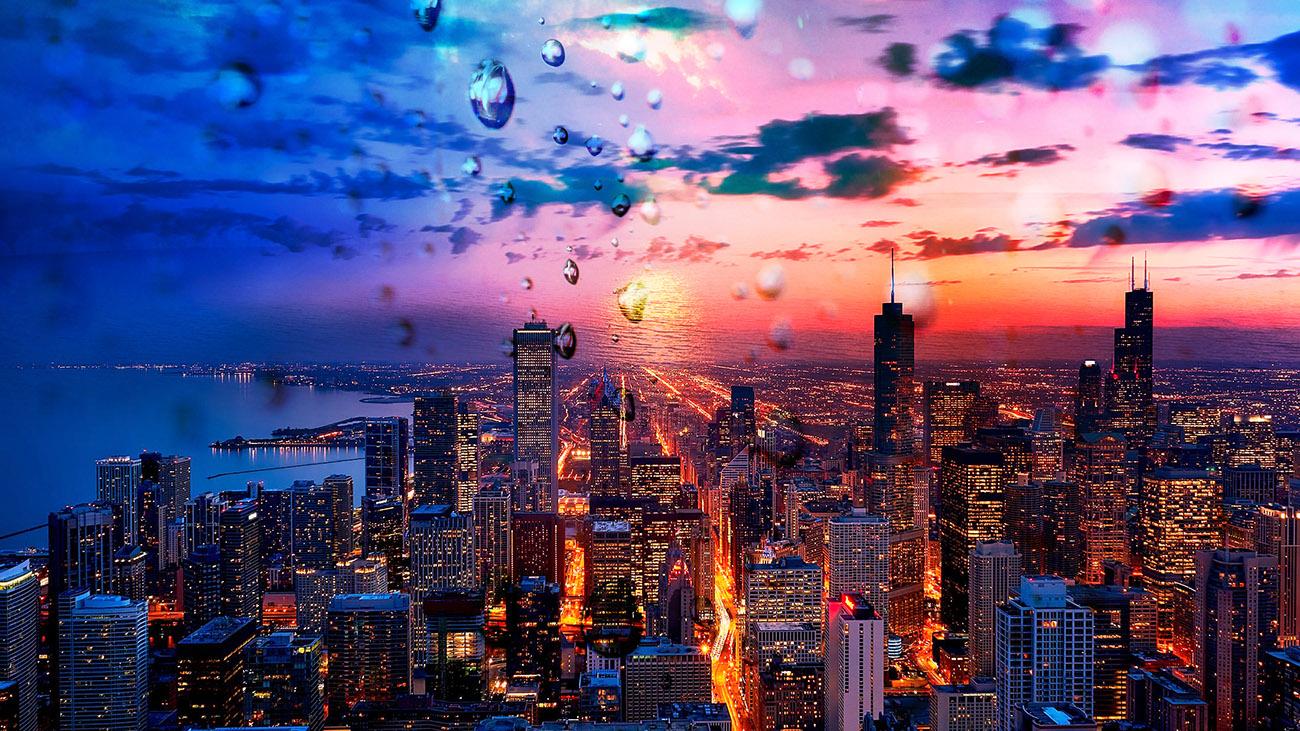 Beautiful Chicago City at Night 02 - RF Stock Image