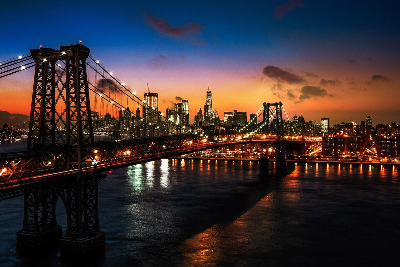 Colorful Sunset over the NYC Williamsburg Bridge 01 - RF Stock Image