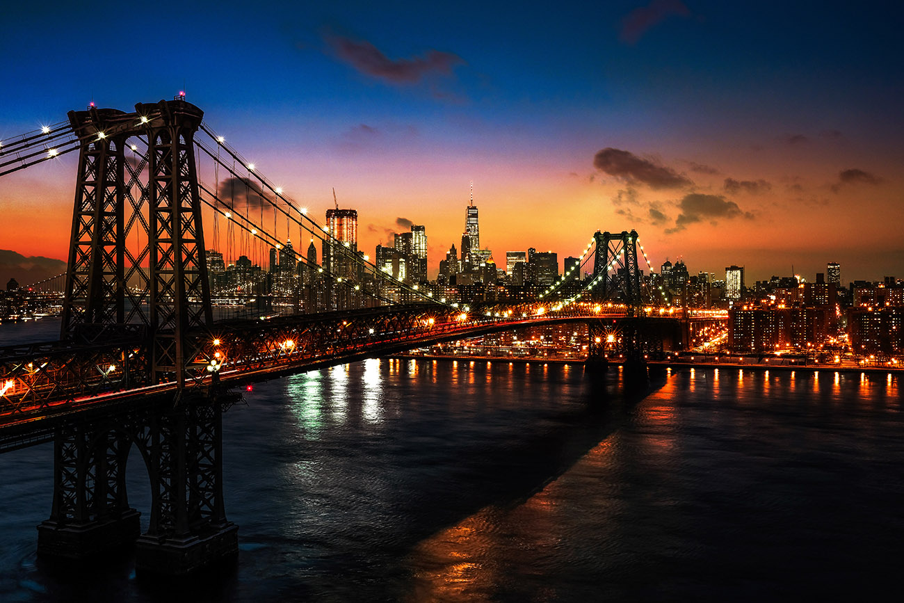 Colorful Sunset over the NYC Williamsburg Bridge 01 - RF Stock Image