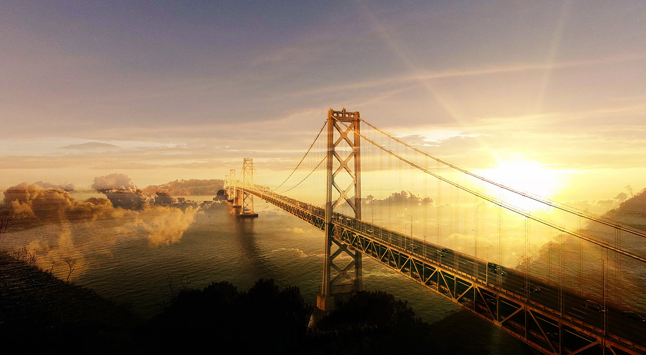 Surreal Suspension Bridge 02 - RF Stock Image