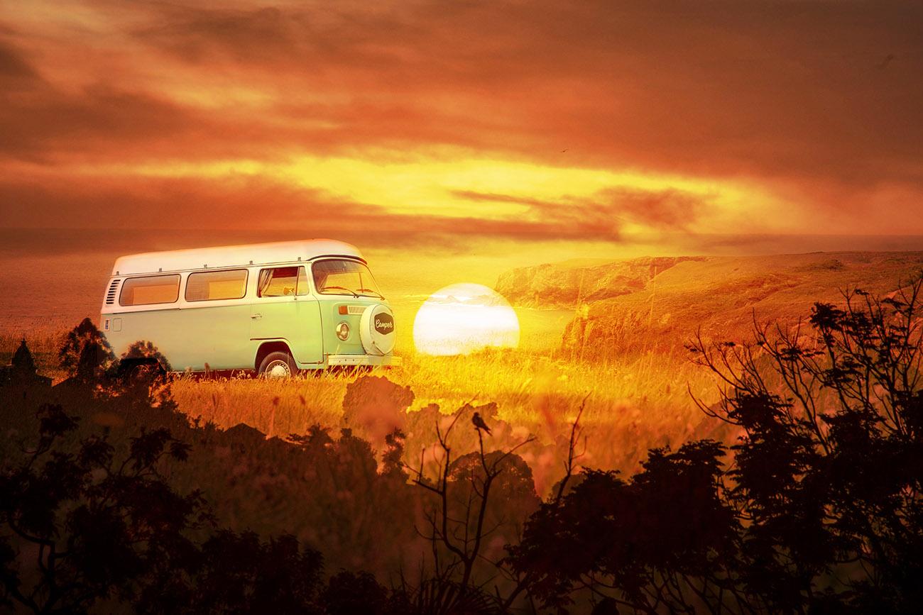 Vintage VW Camper Van Road Trip 05 - RF Stock Image