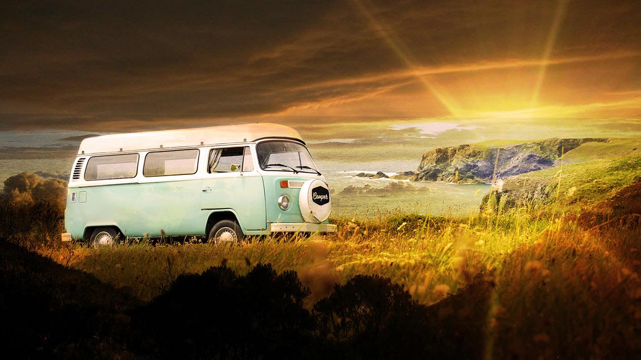 Vintage VW Camper Van Road Trip 06 - RF Stock Image