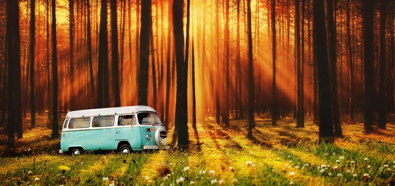 Vintage VW Camper Van Road Trip 07 - RF Stock Image