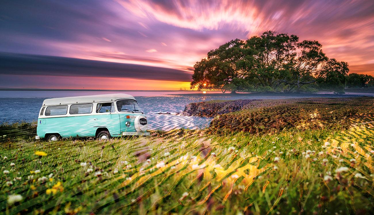 Vintage VW Camper Van Road Trip 08 - RF Stock Image