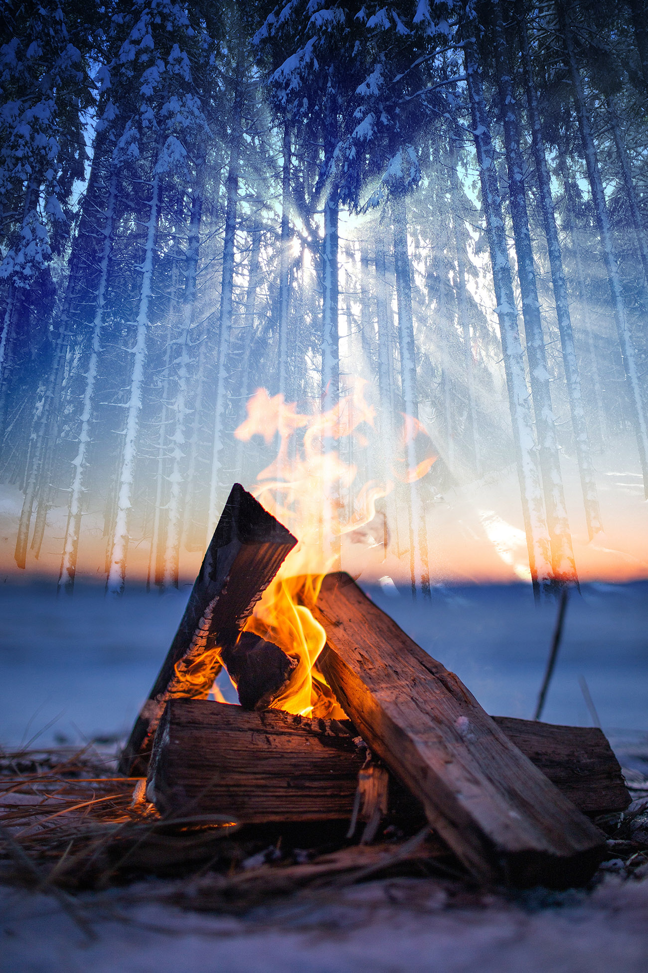 Wintery Wood Fire 01 - RF Stock Image