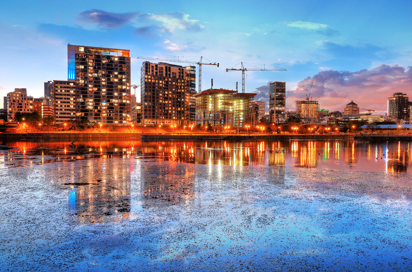 2020 Colorful Downtown Montreal Cityscape at Sunset - RF Stock Image