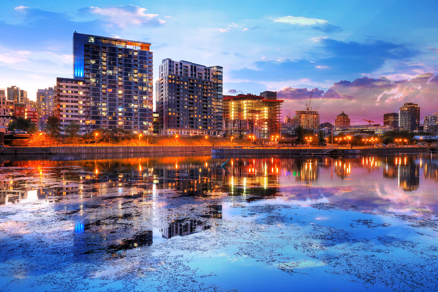 2020 Downtown Montreal City Water Reflection at Sunset - RF Stock Image