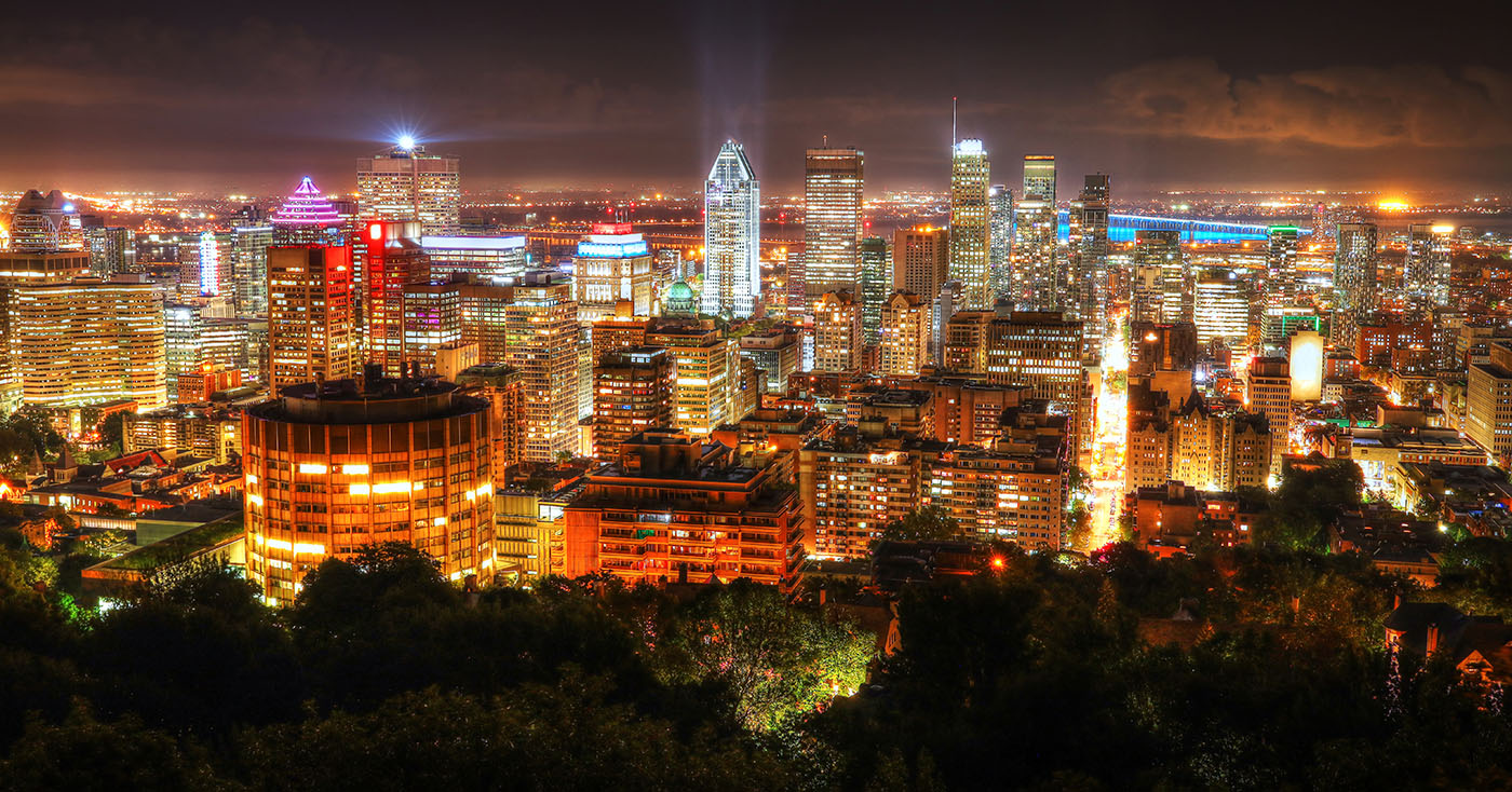 2020 Montreal City Sight at Night From Mount Royal Lookout - RF Stock Image
