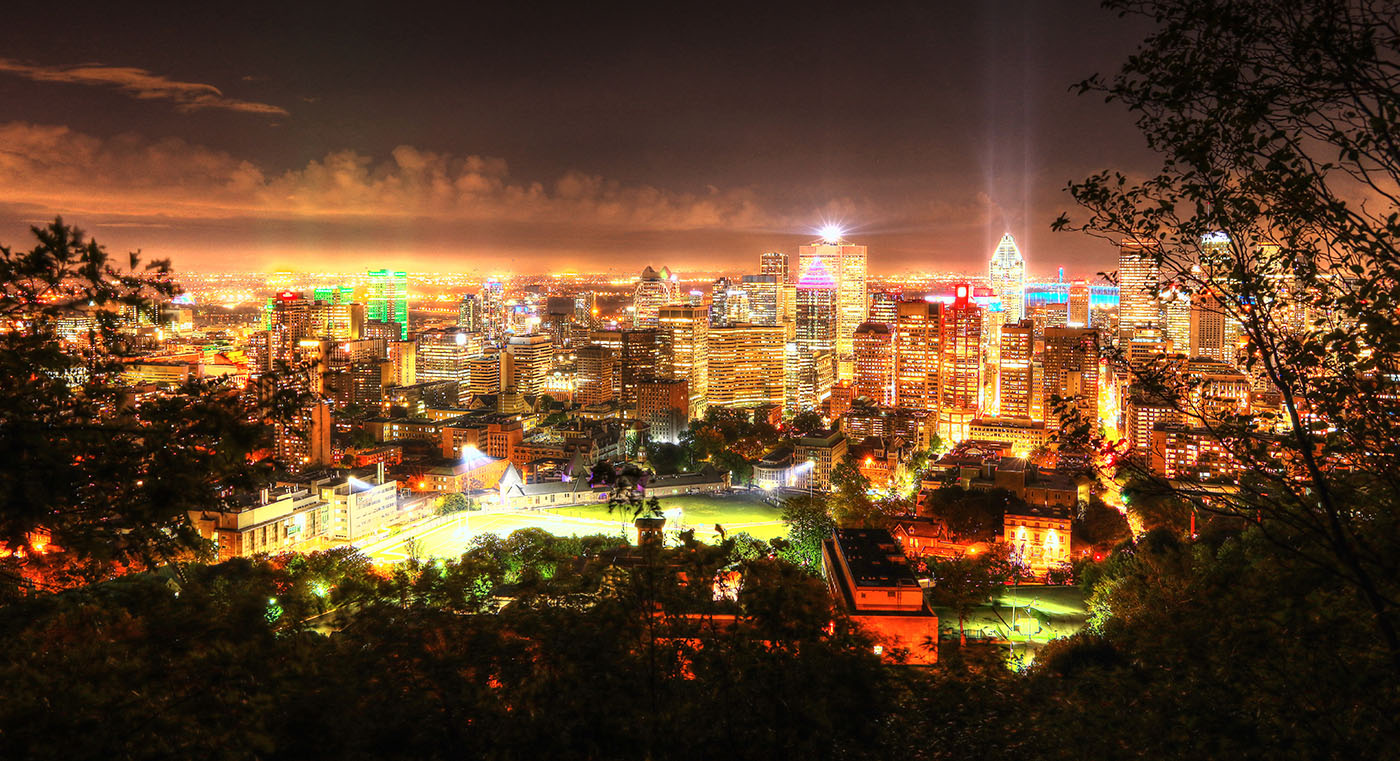 2020 Montreal City Sight at Night from the Mount Royal Hiking Trails - RF Stock Image