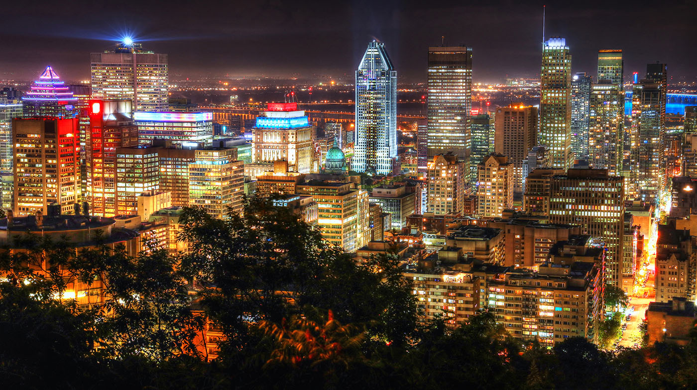 2020 Montreal City View at Night From Mount Royal Lookout - RF Stock Image