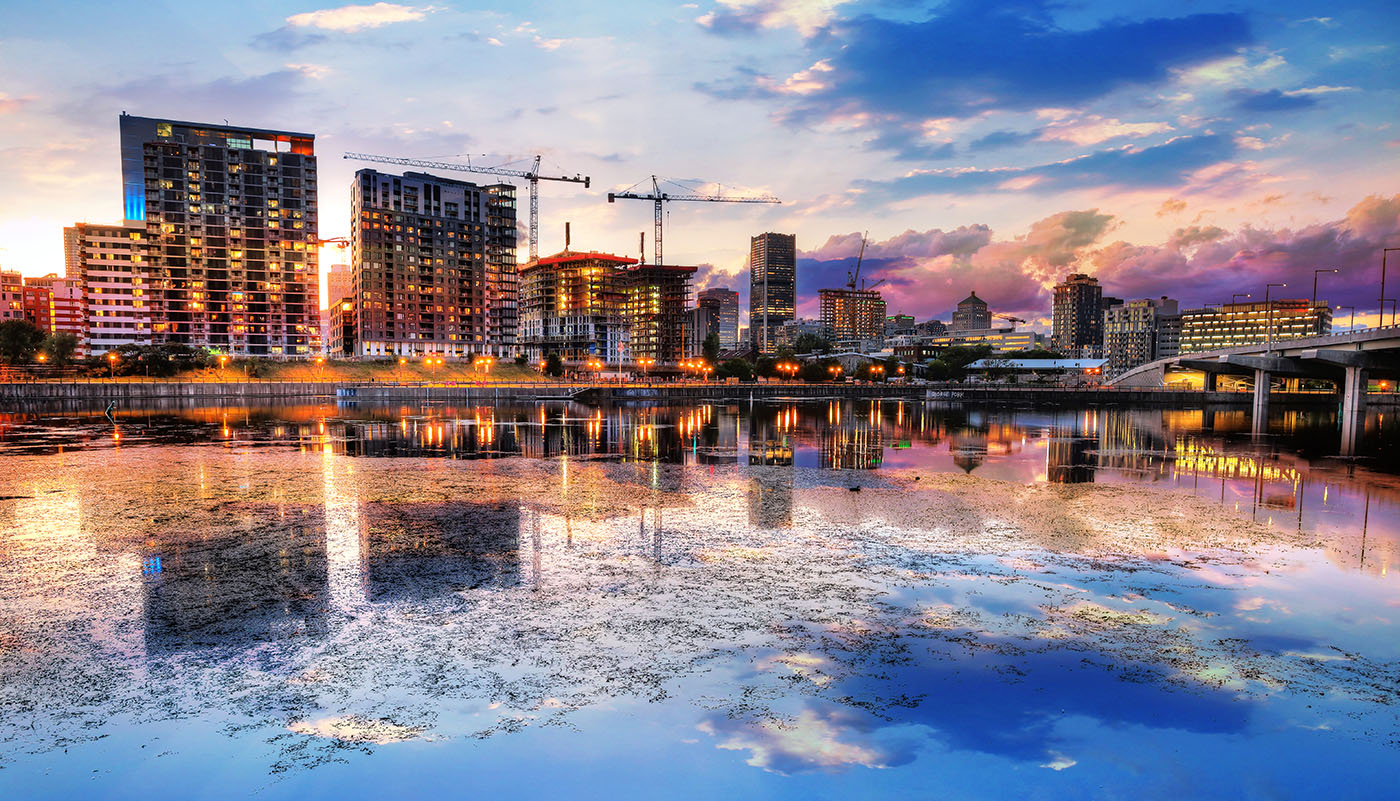 2020 Montreal City at Sunset with Water Reflection - RF Stock Image