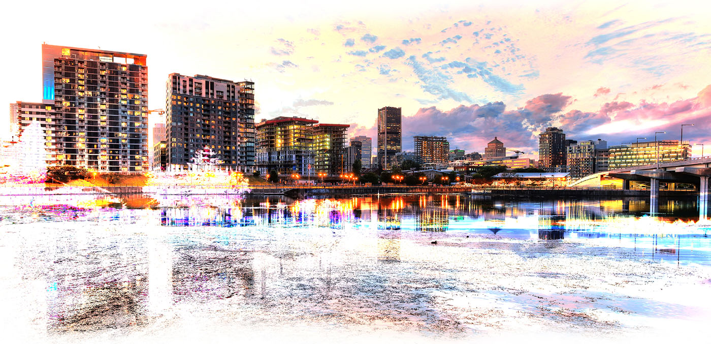 2020 Montreal Cityscape with Colorful Special Effect Image - RF Stock Image