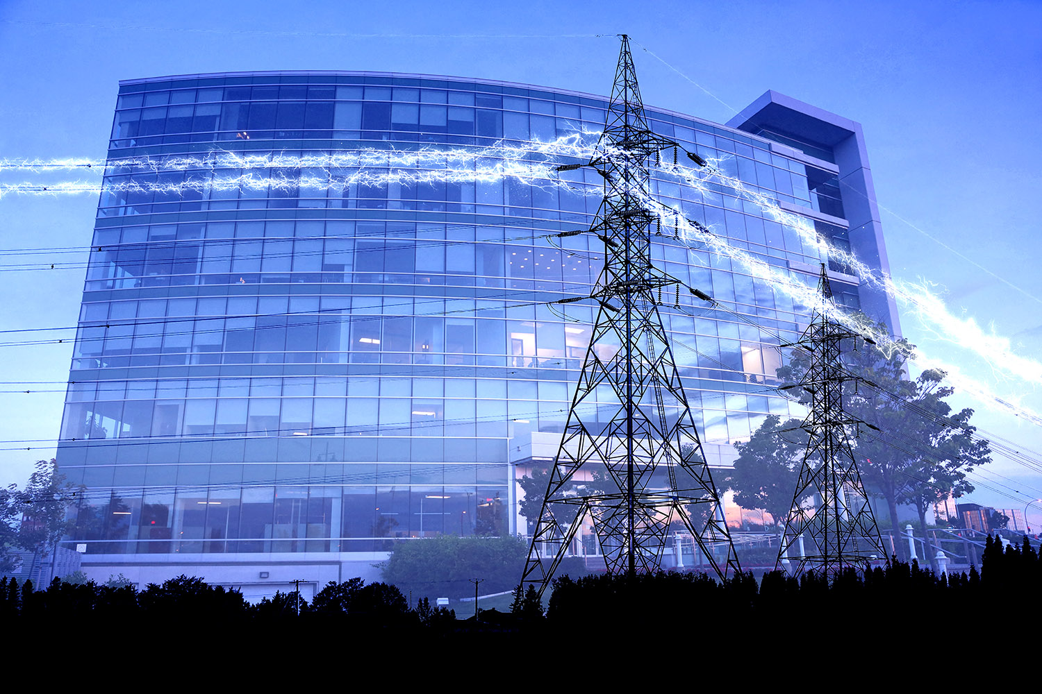 Business Electrification in Blue - RF Stock Image