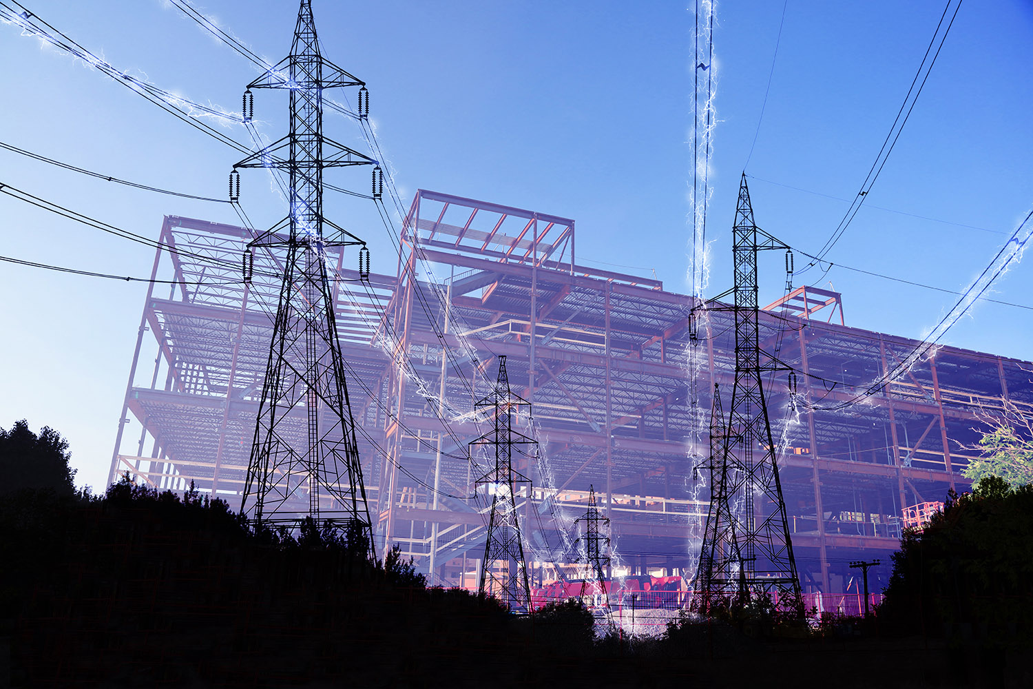 Construction Industry Electrification in Blue - RF Stock Image