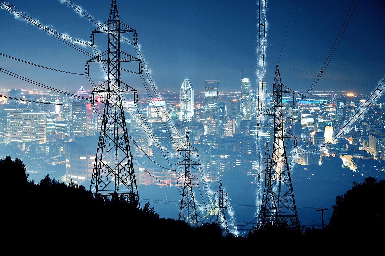Metropolitan Electrification in Blue - RF Stock Image