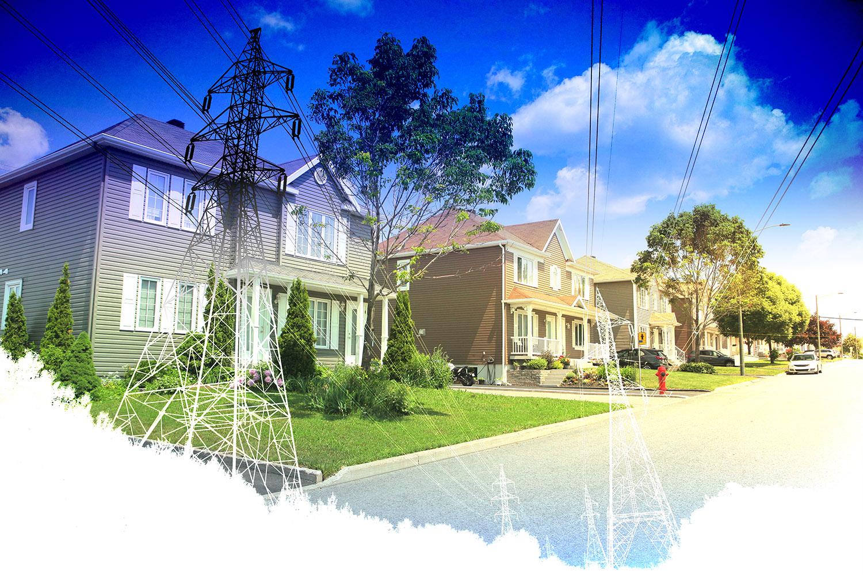 Residential Street Electrification on White - RF Stock Image