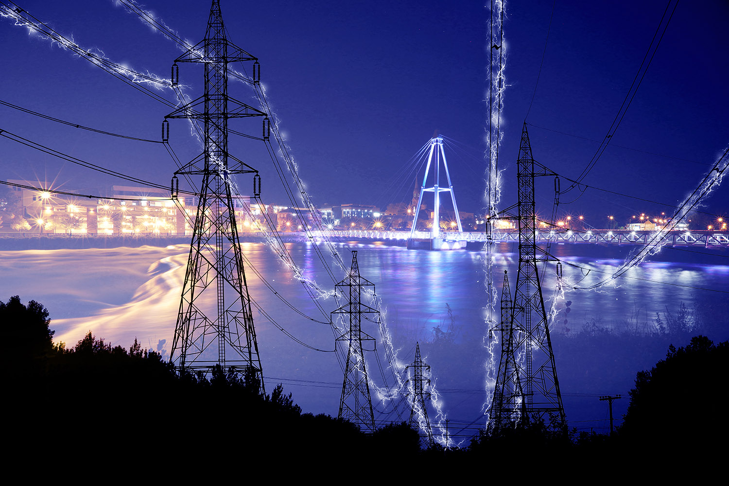 Small Town Electrification at Night in Blue - RF Stock Image