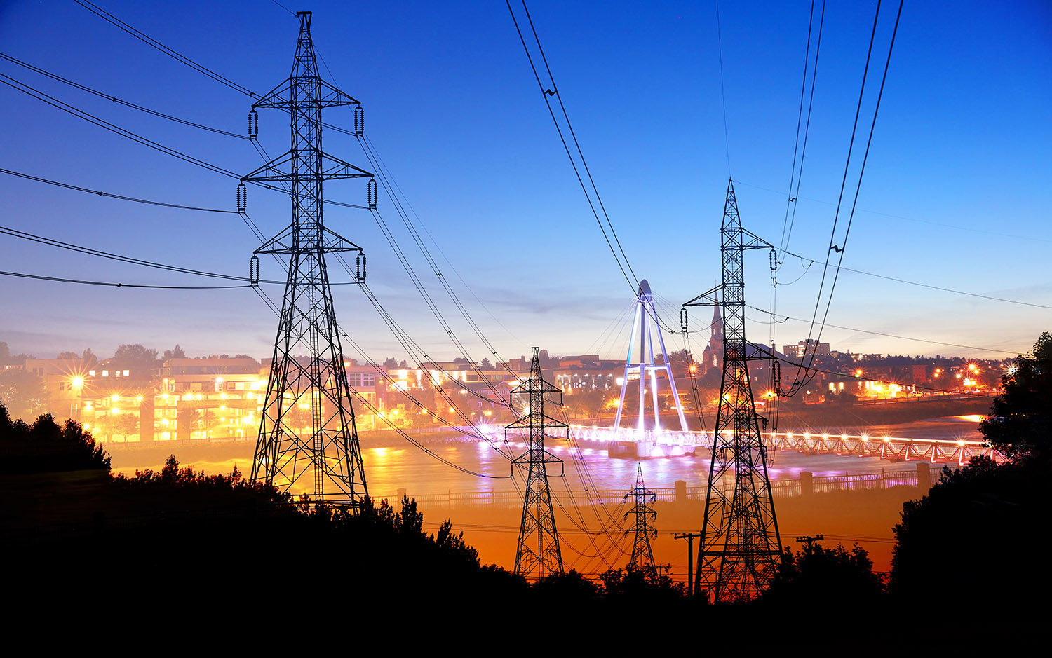 Small Town Electrification at Sunset - RF Stock Image