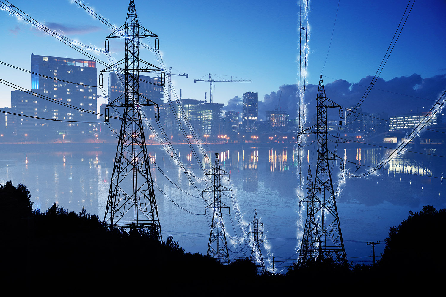 Urban Electrification Concept in Blue - RF Stock Image
