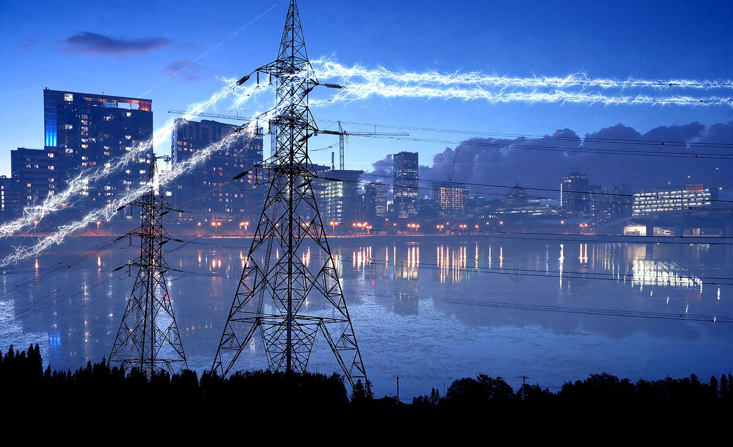 Urban Electrification in Blue - RF Stock Image