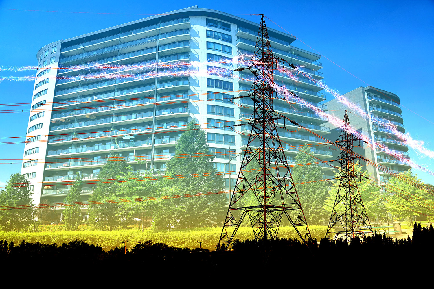 Urban Residential Building Electrification Concept - RF Stock Image