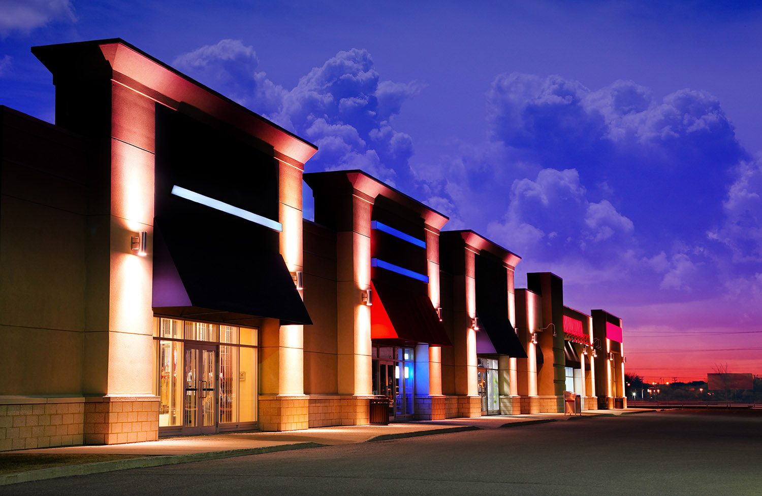 Modern Strip Mall at Night