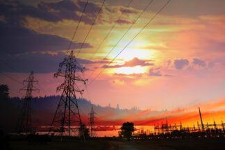 Electricity Related Photo Montage at Sunset